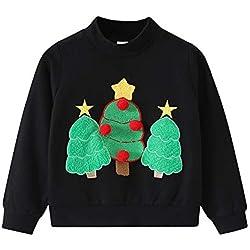 BaZhaHei Sweat-Shirt de Noël Bébé Fille Garçon Col Rond Gant de Sapin de Noël Rudolph Elk Enfants Manches Longues Vêtements de Automne Hiver pour 2-11 Ans(3-4 Ans,a-Noir)