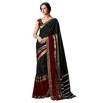Indira Designer Women's Black Color Cotton Silk Plain Saree With Blouse