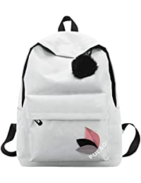 0ca18d613605e0 Zibuyu Simple Women Girls Canvas Backpacks Teen Travel Shoulder School  Handbags