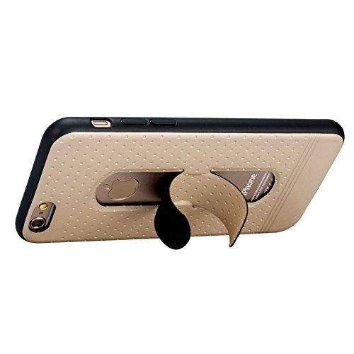 Phone Case & Hülle Für IPhone 6 & 6s, 3D Texture Faltbarer unsichtbarer Halter TPU + PC Kombinationsfall mit Halter ( Color : Blue ) Gold