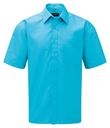 Russell Collection -  Camicia Casual  - Basic - Classico  - Maniche corte  - Uomo Turchese