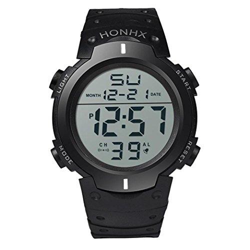 SUNNSEAN Uhr,Art und Weise Wasserdichte Männer Boy LCD Digital Stoppuhr Datum Gummi Sport Armbanduhr Chronograph Beiläufig Armbanduhren (Weiß)