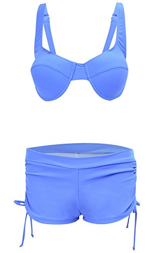 Ecute Damen Bikini mit Shorts Push Up Sexy Bademode Beachwear Badeanzug Blue