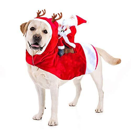 Kyerivs Weihnachtsmann-Hundekostüm Weihnachten Hundemantel Hung Winter Jacken Mantel Hundekostüme Weihnachten Hunde Haustier Kleidung justierbare Weihnachtsmann Kleidung für Haustier (L) -