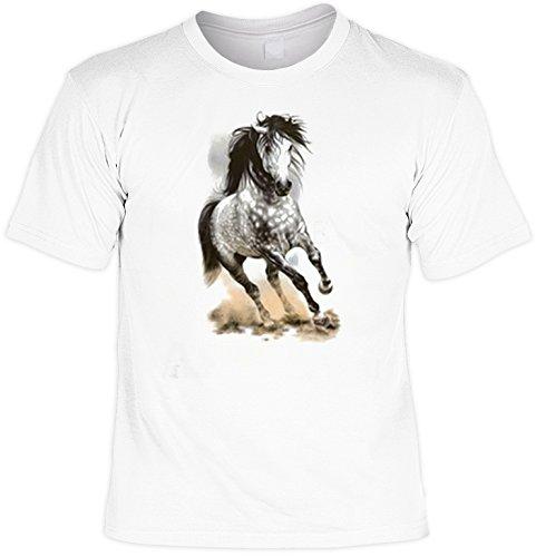 cooles Fun-T-Shirt für Pferdefreunde mit einem galoppierenden, grauen Pferd als Motiv, Glorious Gray, ideal als Geschenk Weiß