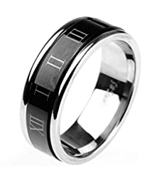HIJONES Jewellery Mens Stainless Steel Roman Numerals Turn Luck Rings, Black and Silver