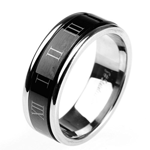 HIJONES Jewellery Mens Stainless Steel Roman Numerals Turn Luck Rings, Black and Silver Size N 1/2