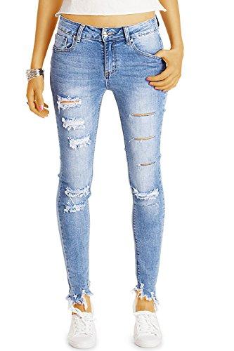 Bestyledberlin Damen Röhrenjeans knöchellang, Normal Waist Skinnyjeans, super enge aufgerissene Jeans j36k 36/S