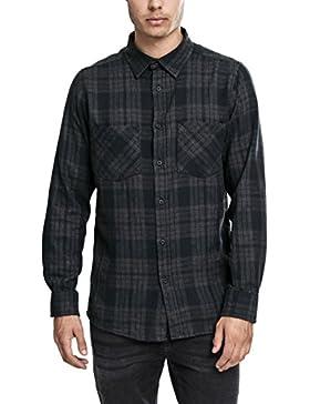 Urban Classics - Hemd Checked Flanell Shirt 2, Maglia a maniche lunghe Uomo, Multicolore (Charcoal/Schwarz), Medium...