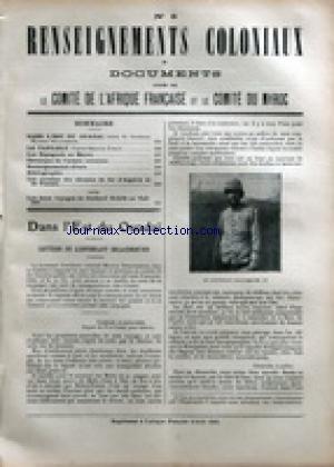 AFRIQUE FRANCAISE - RENSEIGNEMENTS COLONIAUX ET DOCUMENTS [No 8] du 01/08/1910 - DANS L'EST DU OUADAI PAR DELACOMMUNE - LE TAFILELT PAR ROHLFS - LES ESPANOLS AU MAROC - LES RECETTES DES CHEMINS DE FER D'ALGERIE ET DE TUNISIE - HASSEN LE SULTAN DU DAR-TAMA ET LE LIEUTENANT BOURREAU