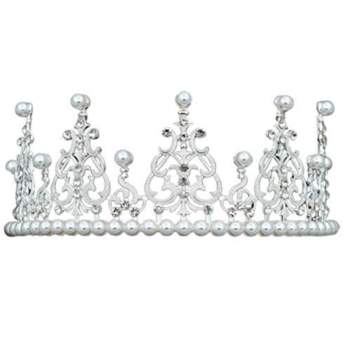 Königin Abschlussball Kostüm - Amosfun Braut Perle Tiara Hochzeit Krone Kopfschmuck Haarband für Geburtstag Hochzeit Kostüm