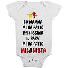 body da neonato Mia mamma mi ha fatto bellissimo il papà mi ha fatto milanista , bimbi, da 3 a 24 mesi by tshirteria