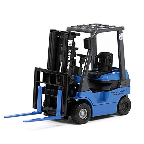 LyJ+evanism Sehr detailliertes Die-Cast-Modell, Legierungstechnik-Fahrzeugmodell 1:60 Bagger-Muldenkipper-Transport-LKW, der Gabelstapler-Zementmischer anhebt ( Color : Blue )