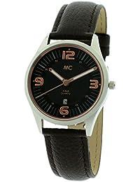 MC Timetrend Damen-Armbanduhr mit schwarzem Zifferblatt und rosefarbenen Ziffern, Edelstahl, schwarzes Lederband, Analog Quarz 51453