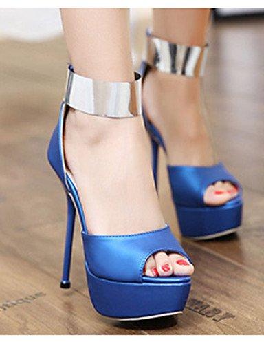 WSS 2016 Chaussures Femme-Décontracté-Noir / Bleu-Talon Aiguille-Talons-Talons-Soie blue-us8 / eu39 / uk6 / cn39