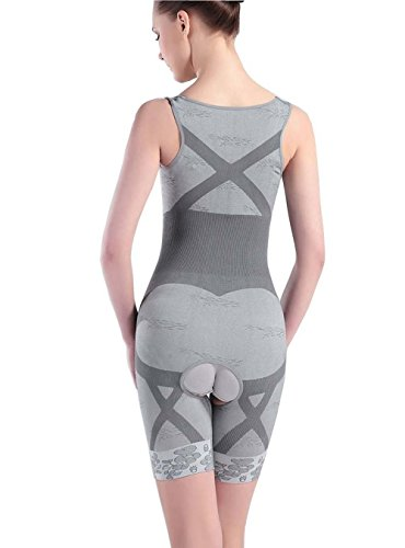Aidonger Damen Schlank Body Shaper Mieder Bodysuit Shaper Korsett Grau