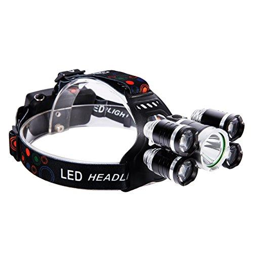 LED Stirnlampe Kopflampe Superhell mit 5 LED 8000 Lumen mit Rote Warnleuchten, 4 Modi Wasserdicht USB Wiederaufladbare Stirnlampe mit Batterien für Camping, Angeln, Wandern, Outdoor-Abenteuer