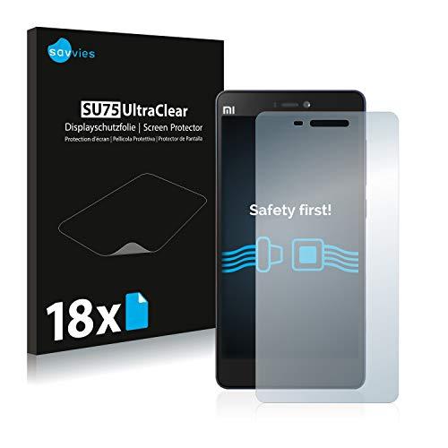 Savvies Schutzfolie kompatibel mit Xiaomi Mi 4c (18 Stück) - ultraklare Bildschirmschutz-Folie