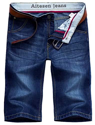 AITESEN N6061 Herren Jeans Shorts Sommer Kurze Hose Dunkelblau ohne Guertel-36 (Gürtel 36 Herren)