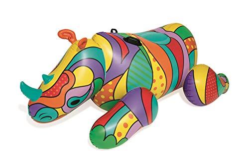 Bestway POP Art Rhino aufblasbares Schwimmtier mit extra viel Platz, 198x117x84 cm