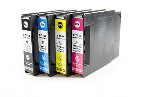 ASTA Cartucce d'inchiostro T7551-T7554 4-Pacco (1 Neri 1 Ciano 1 Magenta 1 Giallo) Alta Capacità Compatibile per Epson WorkForce Pro WF-8090 WF-8590