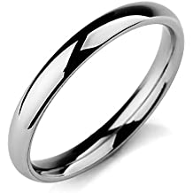 MunkiMix Ancho 3mm Acero Inoxidable Banda Venda Anillo Ring El Tono De Plata Alianzas Boda Hombre,Mujer