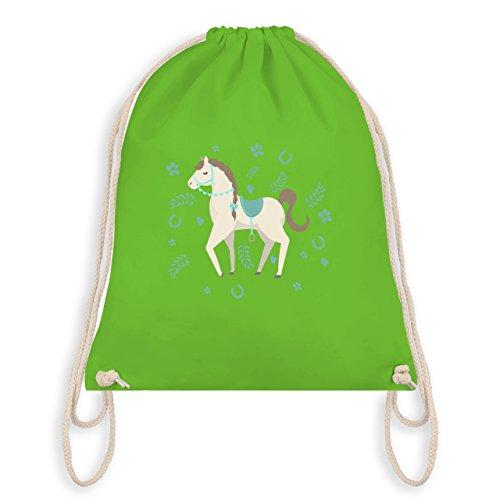 Tiermotive Kind - Süßes Pony - Turnbeutel I Gym Bag Hellgrün