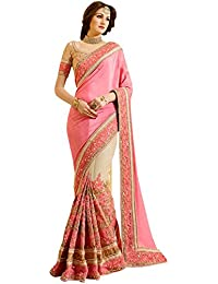 Isha Enterprise Women's Moss Silk Georgette With Nylon Net Light Pink And Cream Thread Work With Sequence Work...