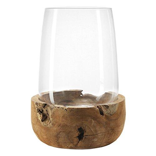 Leonardo 084416Glas transparent, Holz, Holz Kerzenhalter