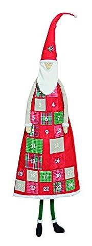 Adventskalender zum Befüllen aus Textil / Filz, 52x160cm lebensgroßer Weihnachtsmann-Kalender in rot-weiß-grün | Weihnachtskalender für Kinder & (Dezember Kalender 2016 Weihnachten)