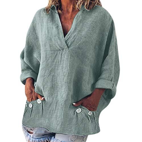 QIMANZI Bluse Damen Mode Übergröße Solide Beiläufig LeinenV-Ausschnitt T-Shirt(A Rosa,XL) -
