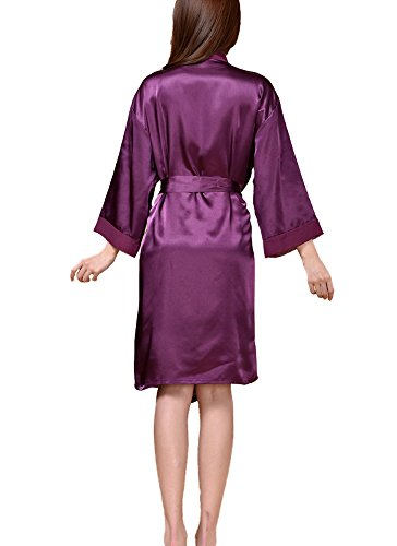 DELEY Donne Kimono Raso Seta Chiffon Elegante Affascinante Abiti Accappatoio Vestaglia Pigiami Loungewear Notte Vestiti Viola