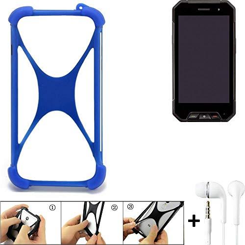 K-S-Trade Handyhülle für Cyrus CS 27 Bumper Schutzhülle Silikon Schutz Hülle Cover Case Silikoncase Silikonbumper TPU Softcase Smartphone, Blau (1x), Headphones
