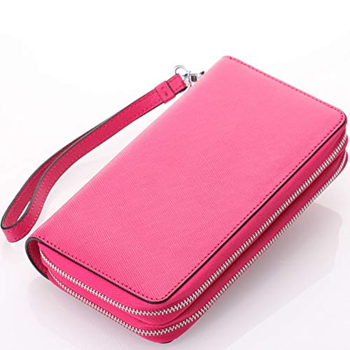 Cross-grain-leder (XY-women's bag Leder Damenbrieftasche Cross-Grain Leder Doppelreißverschluss Hand Geldbörse Multifunktionsschlüssel Tasche Mode (Color : Red, Size : S))