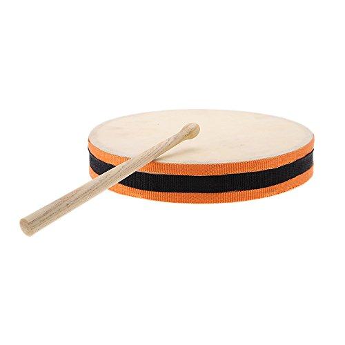 "Andoer® 8 "" Mano Tambor de Madera Cabeza Dual con Tambor Palillos Percusión Musical Juguetes Educativos Instrumento para Niños o KTV Partidos"