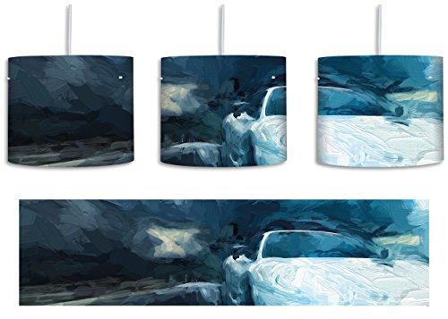 Weißer Ferrari Pinsel Effekt inkl. Lampenfassung E27, Lampe mit Motivdruck, tolle Deckenlampe, Hängelampe, Pendelleuchte - Durchmesser 30cm - Dekoration mit Licht ideal für Wohnzimmer, Kinderzimmer, Schlafzimmer