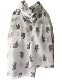 Rhino Scarf White Scarf with Grey Rhinos Print, Ladies 100% Pure Cotton Fair Trade Shawl, Rhinoceros Wrap