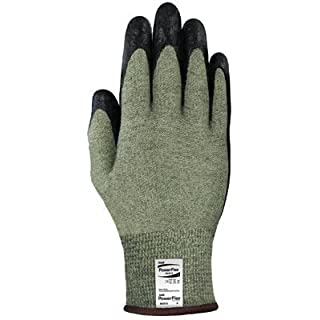 Ansell Edmont 80-813-8 PowerFlex Neoprene Foam Dipped Palm Coated Work Gloves with Yellow and Gray Kevlar and Glass, Core Yarn Knit Liner, Size 8, Black by Ansell