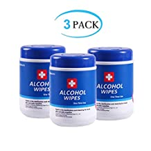 75% Alcohol Wet Wipes Disinfectant Wipes Portable Hand Alcohol Wipes Towel Disposable Wash Sterilization Disinfection Wipes for Antiseptic Skin Cleaning Care for Home Indoor 3 Pack 180 Pcs