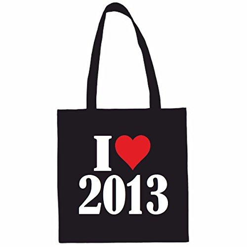 Sac à Bandoulière I Love 2013 Shopping Bag Sac d'école Sac de Sport 38x 42cm en Noir ou Blanc.. Le cadeau parfait pour votre amoureux
