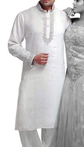 INMONARCH Mens weiße Bettwäsche Kurta Pyjama Designer bestickt KP6055 - Womens Designer-bettwäsche