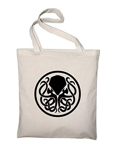 # 2Cthulhu HP Lovecraft Logo in juta, Borsa Borsa di cotone tessuto e tasche, Natural (beige) - styletex23bag2cthulhu2 Natural