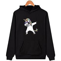 SIMYJOY Niñas Unicornio Encapuchado Camisa Pull-Over Sudadera con Capucha Cool Tops Impresión de Manga Larga Otoño Invierno Sport Streetwear para Niñas Jovenes y Adolescentes Unicornio Negro S
