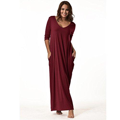 Manadlian-Robes Grande Taille,Femmes Plus Size Dress Manches 3/4 Décolleté en V Casual Longue Robe de Soirée Lâche Rouge