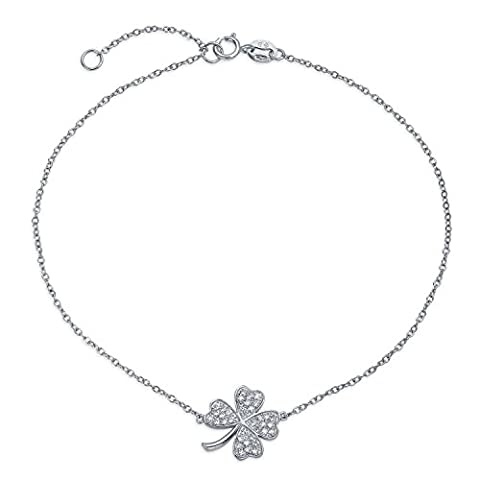 Bling Jewelry CZ Glücksklee Shamrock Sterling Silber Armband 10 in