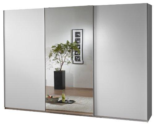fresh to go 592859 Schwebetürenschrank 300 x 218 x 65 cm, Front und Korpus alpinweiß / mittig Spiegeltür