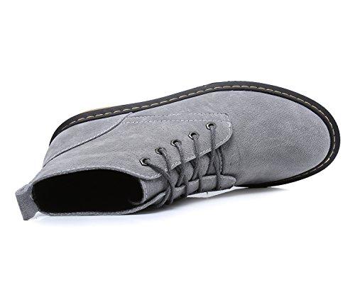 Smilun Damen Kurzschaft Stiefel Suede Klassische Schnürstiefel Grau
