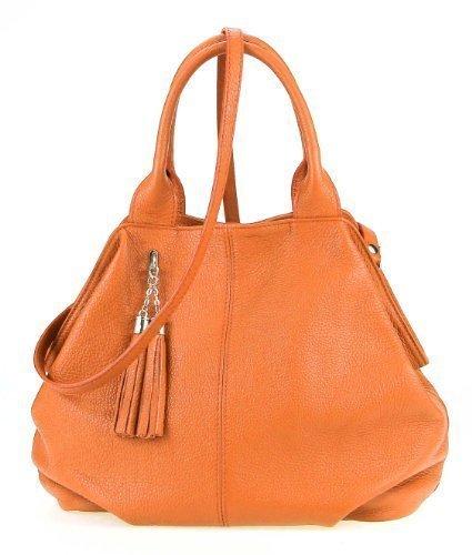 OBC Made in Italy echt Leder Shopper Henkeltasche Umhängetasche Tasche City Bag Schultertasche 35x30x15 cm (BxHxT) Orange