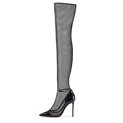 LYYY.Y Sexy Damen Spitze Stiefel Mesh Über Die Knie Coole Stiefel Außenhandel Große High Heels (Absatzhöhe:11-13Cm),Black,37 (Knie Stiefel Schnalle Stiletto Heel)