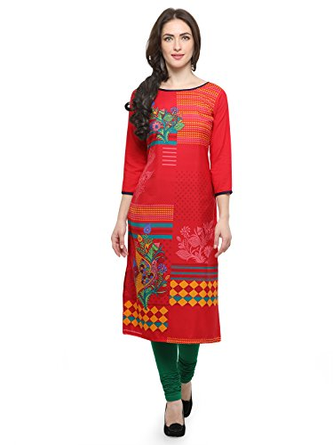 Venika Creations Designer Red Casual Printed Women Kurti
